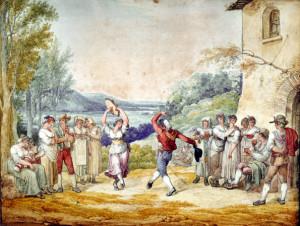 08 Roma Feste e goliardie Bartolomeo Pinelli, Il Saltarello, 1808, acquerello MR 3457 web