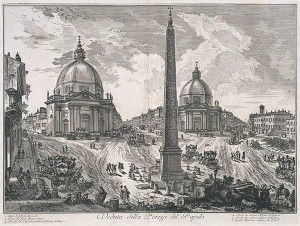 01 Roma Restauro S.M. Miracoli Veduta della Piazza del Popolo, Incisione di G.B. Piranesi, 1750 circa